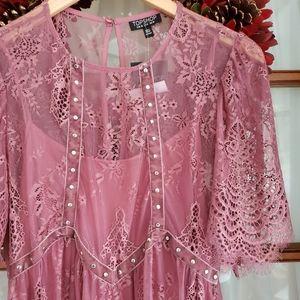 Topshop Velvet Studded Lace Dress Size 6